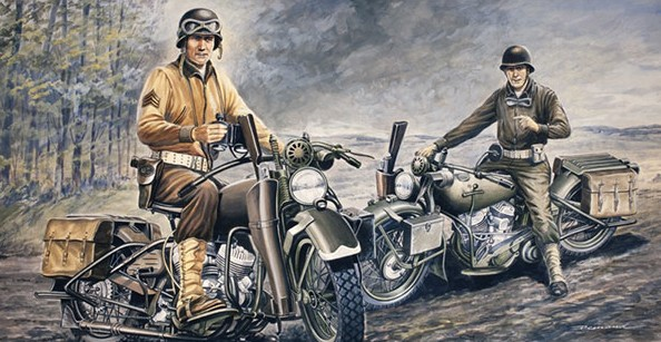 1-35 WWII US Soldiers on Motorcycles (2) D-Day 75